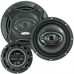 "2) Audiobank 6.5"" 400 Watt 3-Way Red Car Audio Stereo Coaxia"