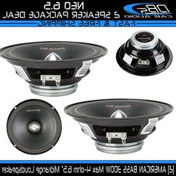 2 American Bass NEO 6.5 Midrange Loud Speaker 600W 4-ohm Car