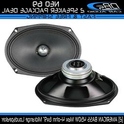 "2 American Bass NEO 6.9 6x9"" Midrange Loud Speaker 900W 4ohm"