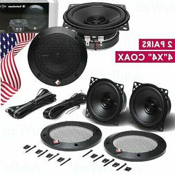 "2 PAIRS NEW Rockford Fosgate R14X2 120W 4""x4"" 2-Way Coaxial"
