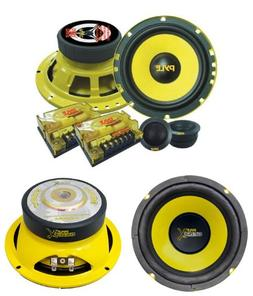 "2) PYLE PLG6C 6.5"" 400W 2 Way Car Component+ 2) 6.5"" 600W Su"