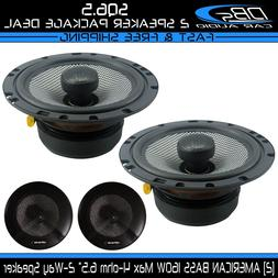 "2 American Bass SQ6.5 6.5"" 2-Way Fullrange Coaxial Car Audio"