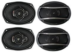 4 Pioneer 6x9 Inch 3-Way 420 Watt Car Coaxial Audio Stereo S
