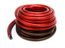 4 Gauge 25' BLACK and 25' RED Car Audio Power Ground Wire Ca
