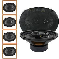 """4 Pack 6x9"""" 3-Way Coaxial Speakers 200W Max Grill American B"""
