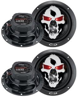 "4) NEW BOSS SKULL SK653 6.5"" 700W 3 Way Car Coaxial Audio Sp"