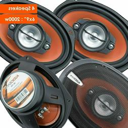 "4x Audiobank 6x9"" 1000 Watt 4-Way Red Car Audio Stereo Coaxi"