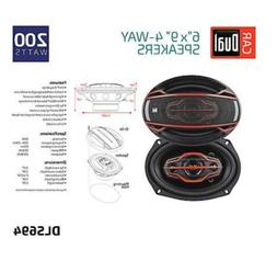 "Dual Electronics 6"" x 9"" 200 Watt 4-Way Car Speakers - Purch"