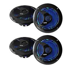 Pyle Audio 150W 6.5-Inch Waterproof Marine Speakers w/ LED L