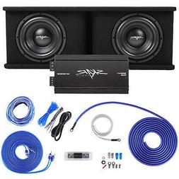 "SKAR AUDIO DUAL 10"" 2400W SDR COMPLETE BASS PKG LOADED SUB B"