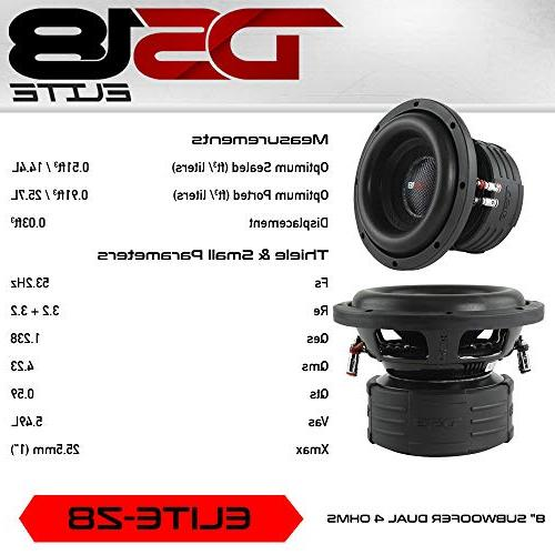 """DS18 Subwoofer in Black 8"""", 900W Max RMS, 4 Ohms, DVC Premium Car Audio Bass Speaker Great for Low Frequencies High Applications"""