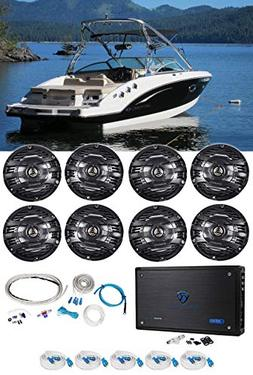 "Kenwood 6.5"" 1200w Marine Boat Speakers+8-Channel Amplifier"