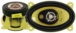 """NEW 4"""" x 6"""" inch Car Audio Stereo 3-Way Speakers w/ Yellow P"""