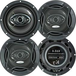 "2 Pairs - Audiotek K65.4 6.5"" 400 Watts 3-Way Car Audio Ster"