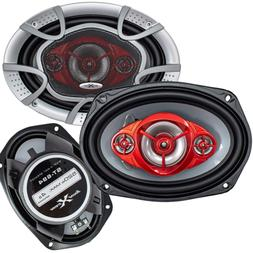 Pair of SoundXtreme 6x9 520 Watt 4-Way Red Car Audio Stereo